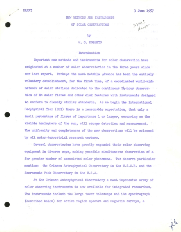 [Draft: New Methods and Instruments of Solar Observation]