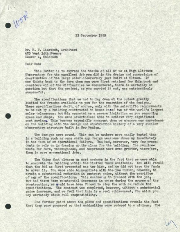 [Letter to R.F. Lindstedt, Architect]