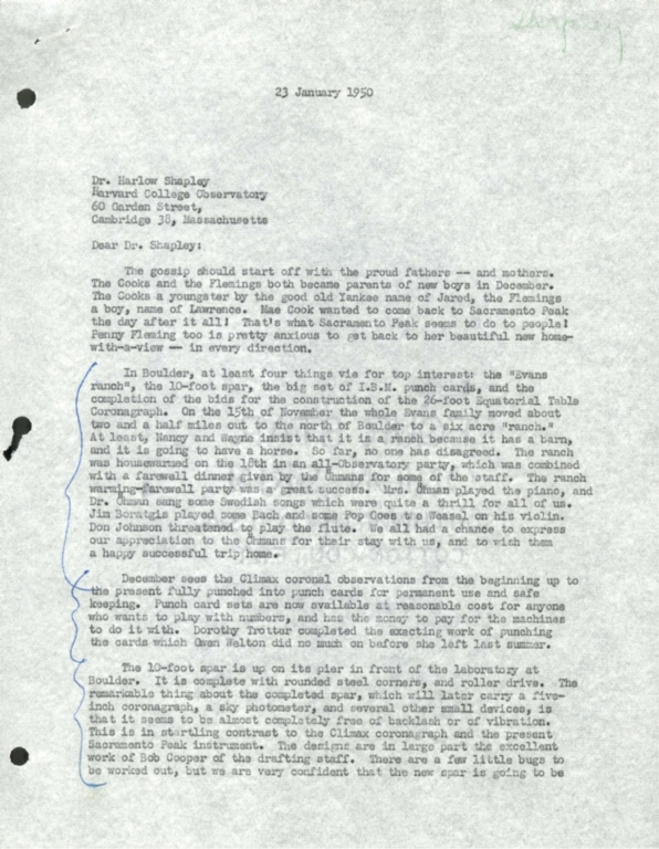 [Letter to Harlow Shapley, Harvard College Observatory]