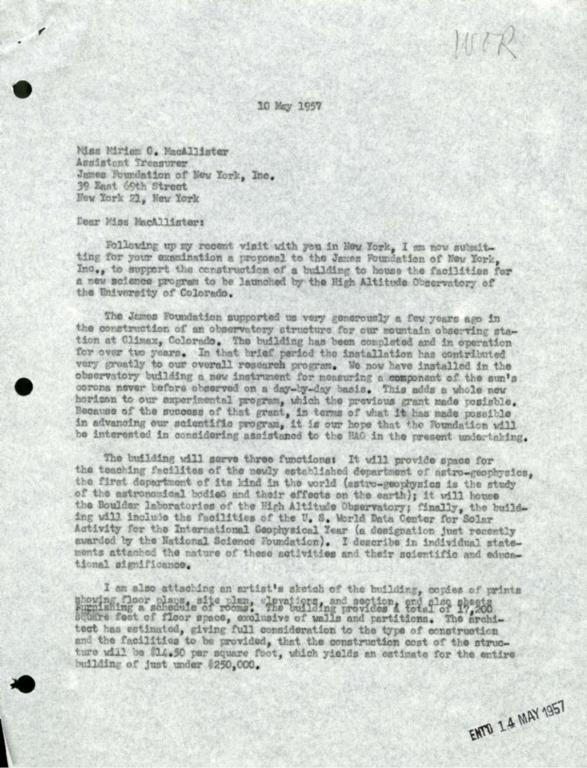 [Letter to Miss McAllister, James Foundation]