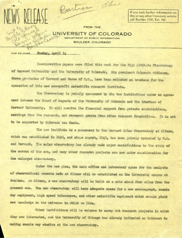 [News Release from University of Colorado]