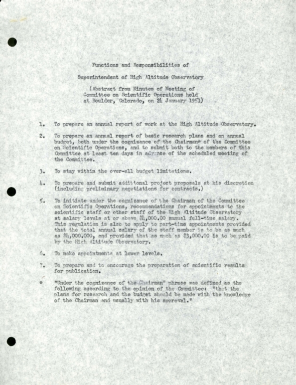 Functions and Responsibilities of Superintendent of the High Altitude Observatory