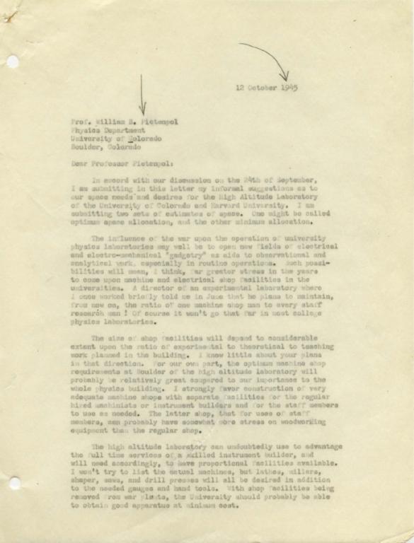 [Letter to William B. Pietenpol, University of Colorado]