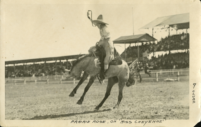 Prairie Rose Henderson riding bronco