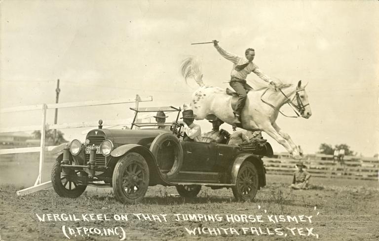 Virgil Keel jumping horse over car