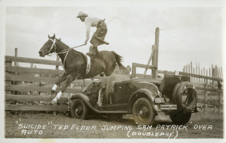 Ted Elder jumping horse over car