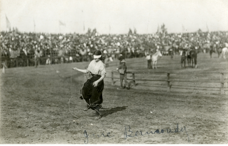 Jane Bernoudy trick roping in blind-folded