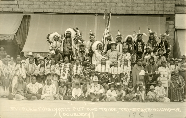 Rodeo clown Put with group of American Indians