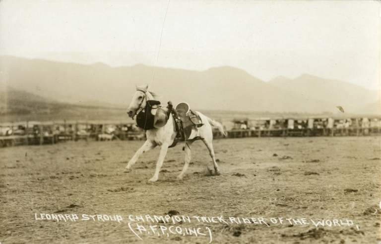 Leonard Stroud going around the neck of a horse