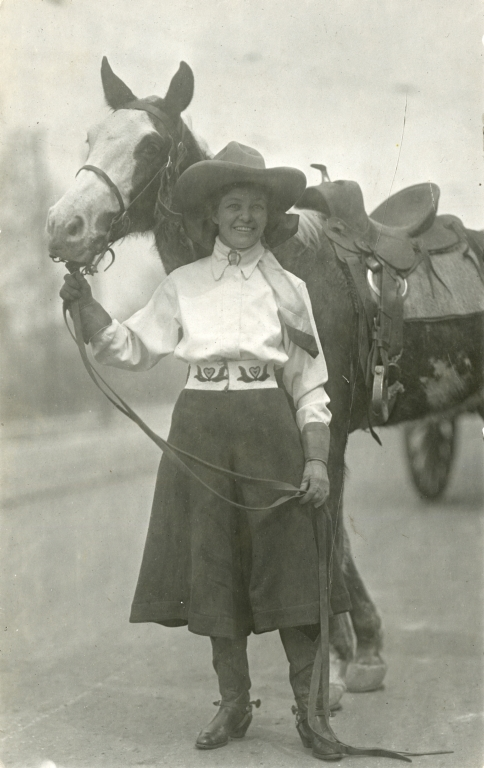Portrait of Mayme Stroud with horse