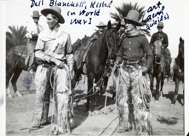 Del Blanchett and Art Acord with horses