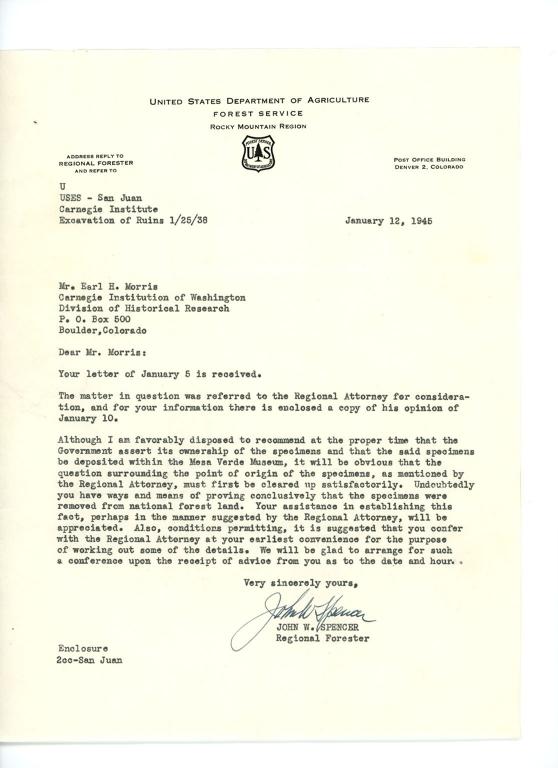 Letter, John R. Spencer to Earl H. Morris, 1945 January 12