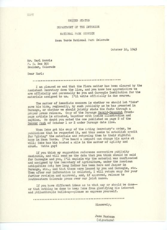 Letter, Jesse L. Nusbaum to Earl H. Morris, 1945 October 10