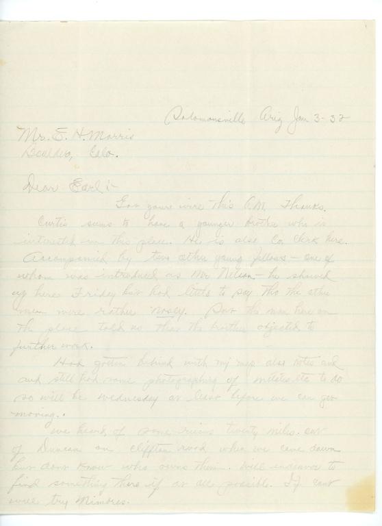 Letter, Oscar Tatman to Earl H. Morris, 1932 January 3