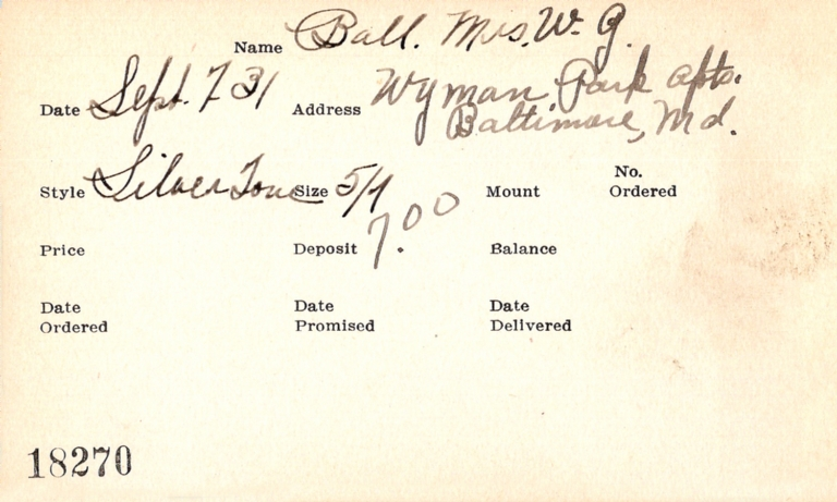 Index card for Mrs. W. G. Ball