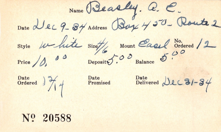 Index card for A. E. Beasley