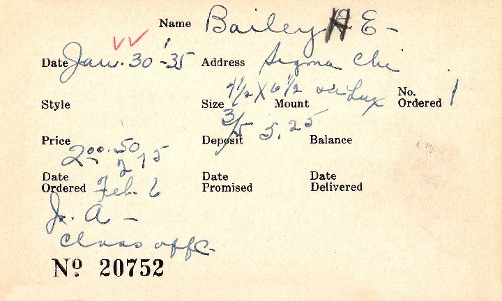 Index card for H. E. Bailey