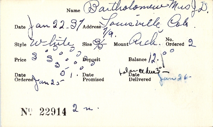 Index card for Mrs. J. D. Bartholomew