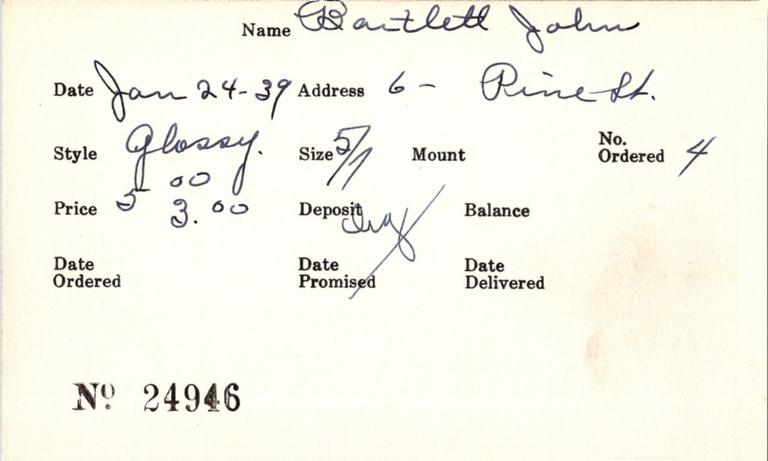 Index card for John Bartlett