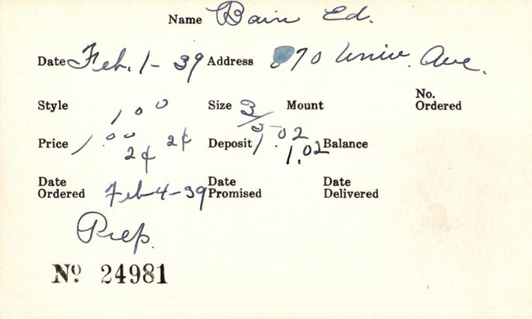 Index card for Ed Bain