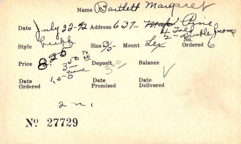 Index card for Margaret Bartlett
