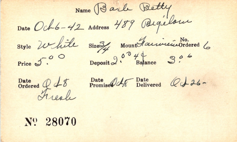 Index card for Betty Barb