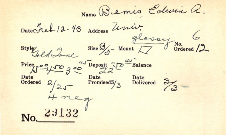 Index card for Edwin A. Bemis