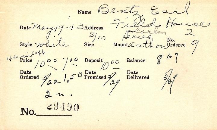 Index card for Earl Bentz