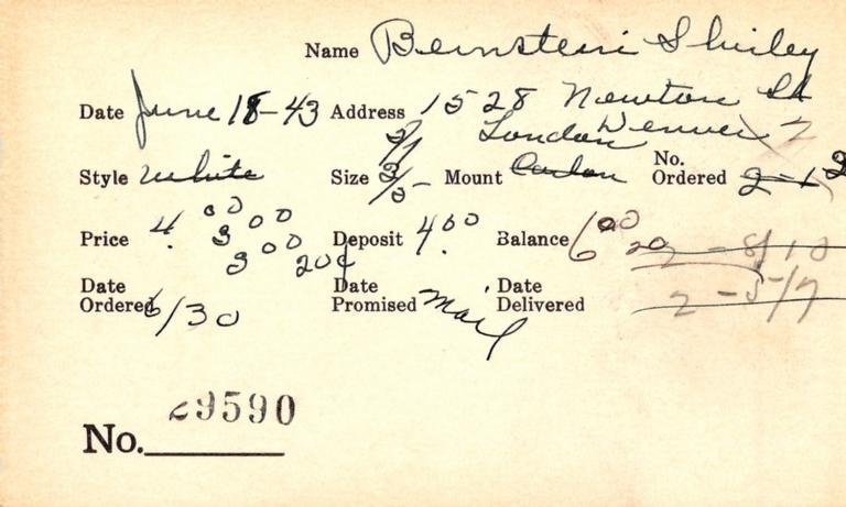 Index card for Shirley Bernstein