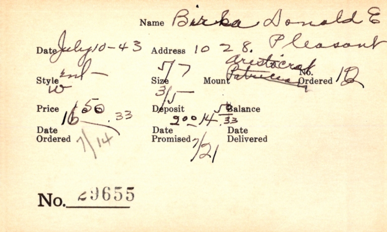 Index card for Donald E. Birk[a?]
