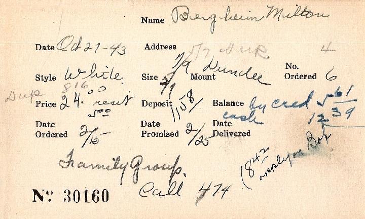 Index card for Milton Bergheim
