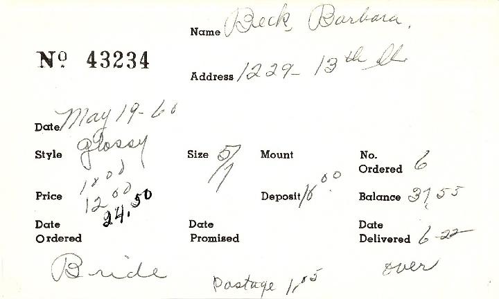 Index card for Barbara Beck