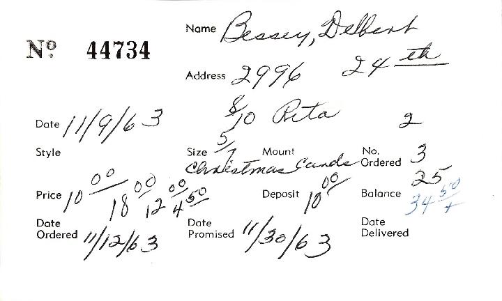 Index card for Delbert Bessey