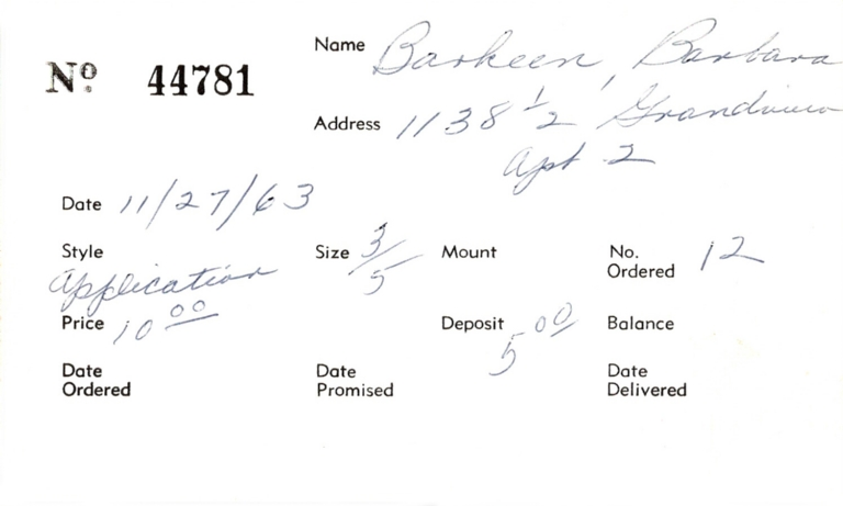Index card for Barbara Barkeen [?]