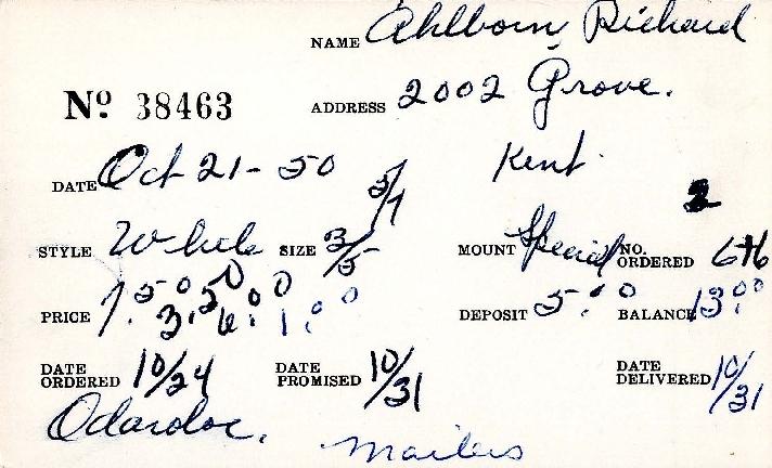 Index card for Richard Ahlborn