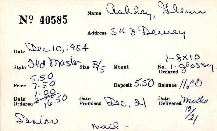Index card for Glenn Ashley