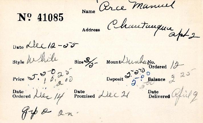 Index card for Manuel Arce