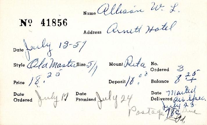 Index card for W. L. Allison