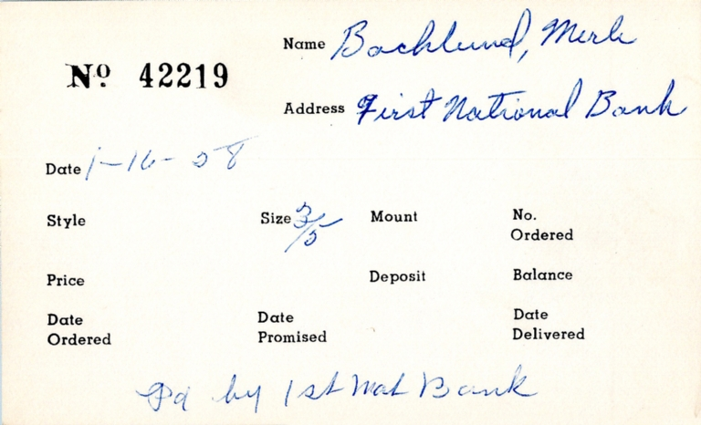 Index card for Merle Backlund