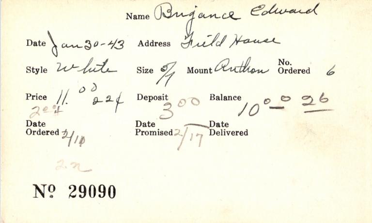 Index card for Edward Brigance