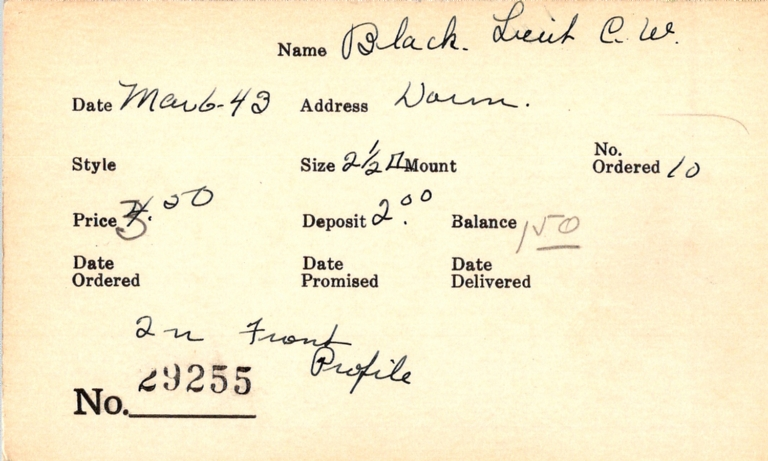 Index card for C. W. Black