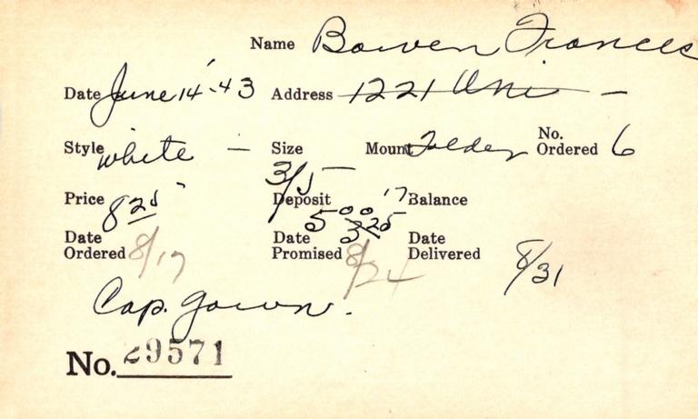 Index card for Frances Bowen