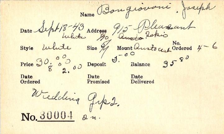 Index card for Joseph Bongiovoni