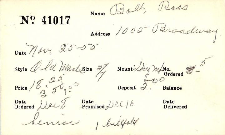 Index card for Ross Bolt