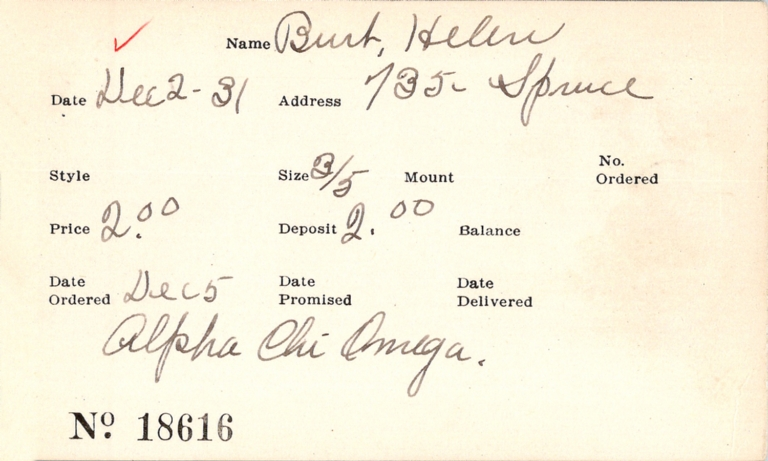Index card for Helen Burt