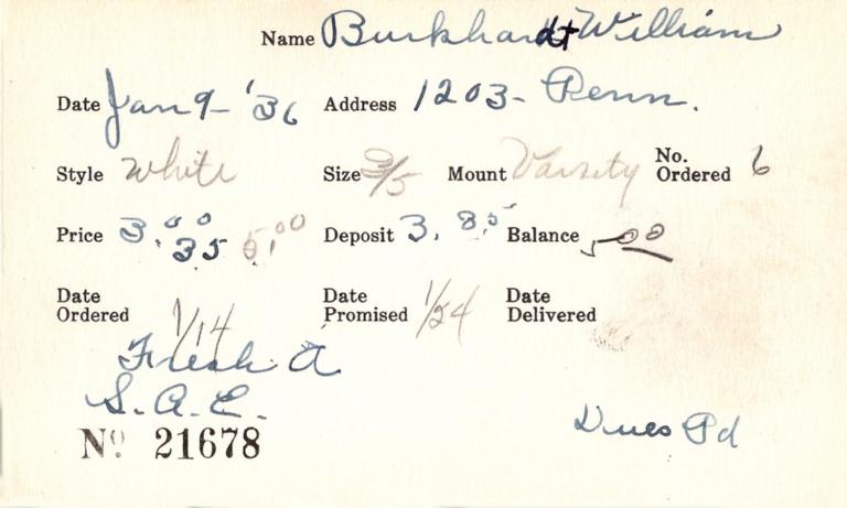 Index card for William Burkhardt