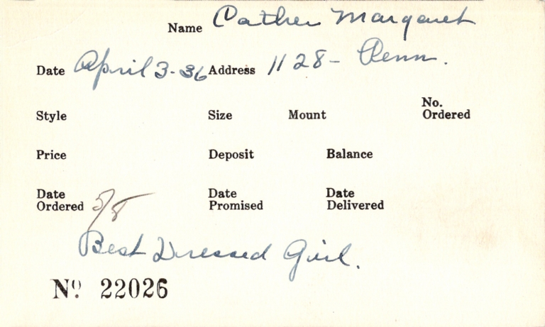 Index card for Margaret Cather