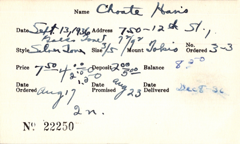 Index card for Hans [?] Choate