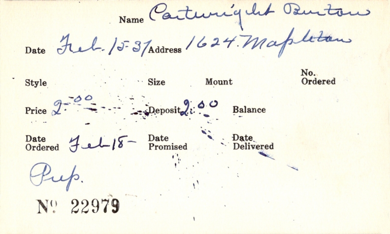 Index card for Burton Cartwright
