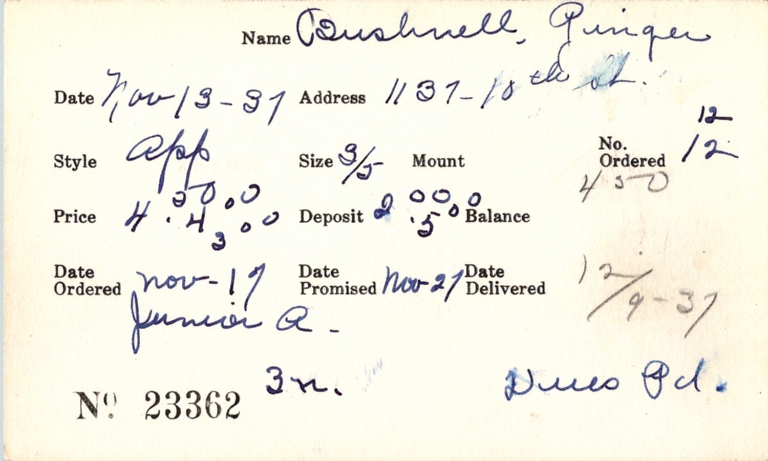 Index card for Ginger Bushnell